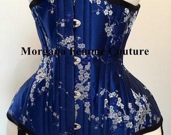 Blue silk brocade underbust custom corset