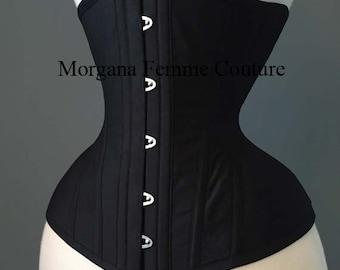 Custom made Black tightlacing waist training underbust corset