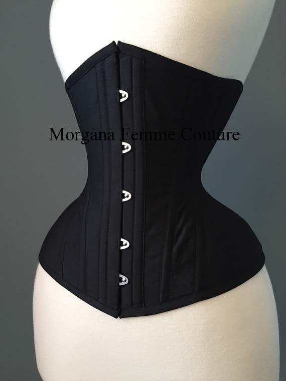 Fashion Black Satin Plain Lace Up Underbust Waist Training Shaper Corset Cincher