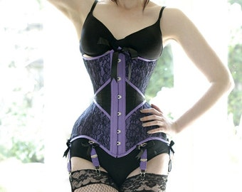 Italian lace waistband conical rib underbust custom tightlacing corset lingerie boudoir corset waist training steel boned, waist reduction