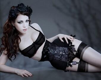 MF1345 Raschel lace powermesh longline underbust corset lingerie boudoir corset shapewear