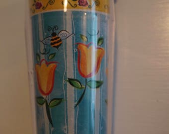 Vintage Starbucks Tumbler  Spring Flowers with Bee  New Never used