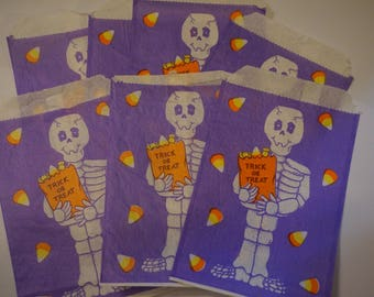 Vintage Halloween Treat Bags with Skeleton-Purple