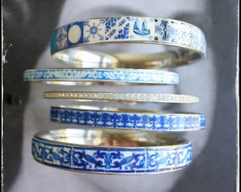 Bracelets Bracelets en acier inoxydable serti Portugal tuile bordure bleu Azulejo - lot de 5 - 8 - livraison Etats-Unis for sale  Delivered anywhere in Canada