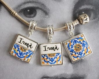 Charm Irma Sister Antique Azulejo Tile SiLVER Plated Pendant  Choose One MADE TO ORDER - Gift Box