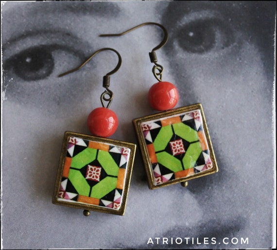 Earrings Green Tile Portugal Atrio Antique Azulejo  OVAR Portugal - Orange Geometric  (see photo of actual Facade) FREE USA Shipping  524