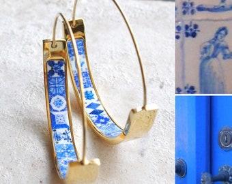 "Hoops Earrings Atrio Tile Flat Bottom Portugal Stainless Steel Antique Azulejo -  1.5""  Blue Tiles USA Shipping"