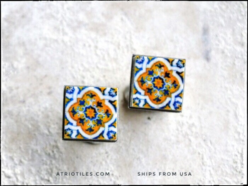 Seeing What Happened To Atrios I Guess >> Stud Earrings Portugal Atrio 17th Century Gold Blue Azulejo Etsy