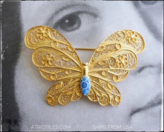 Filigree BROOCH Butterfly Portugal Gold Bath, 24k Portuguese Silversmith Metslwork  - Blue Azulejo Tiles - Ovar - Ships from USA