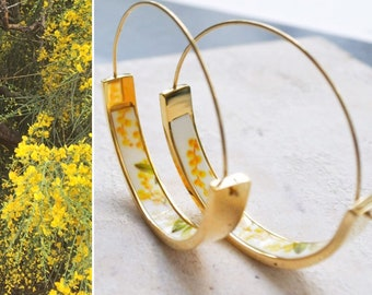 """Hoops Earrings Atrio MIMOSA Yellow Flowers Portugal Stainless Steel Acacia  -  1.5""""  Orrechini Italy Italian Ships from USA"""