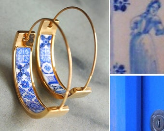 "Hoops Earrings Atrio Tile Flat Bottom Portugal Stainless Steel Antique Azulejo -  1""  Blue Tiles USA Shipping Girls Women Small"