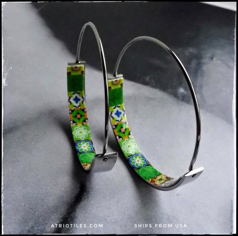 Seeing What Happened To Atrios I Guess >> Earrings Atrio Hoops Tile Portugal Stainless Steel Antique Etsy