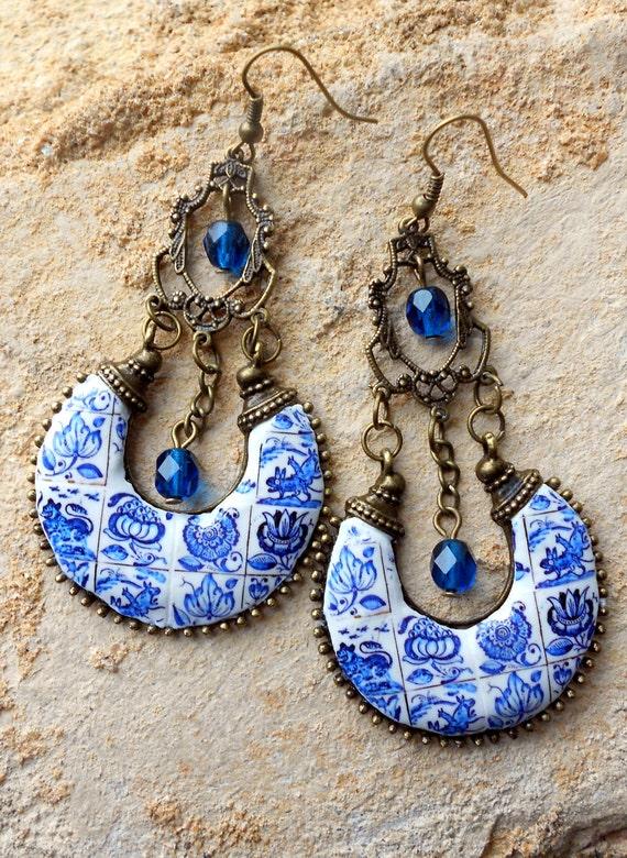 Ethnic Bohemian Gypsy Persian EARRINGs Portugal Antique Azulejo Tile Replica CHANDELIER - COIMBRA 1690 - 1775 BLUE  , Delft, Boho Hippie