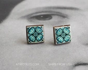 Stud Tile Earrings Portugal Antique Azulejo ,  Ilhavo, SAGE Green Stainless Steel Posts Hypo Allergenic - Ships from USA - Gift Boxed 458