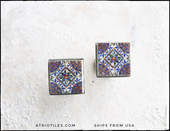 Seeing What Happened To Atrios I Guess >> Stud Earrings Atrio Post Tile Portugal Purple Antique Azulejo Etsy