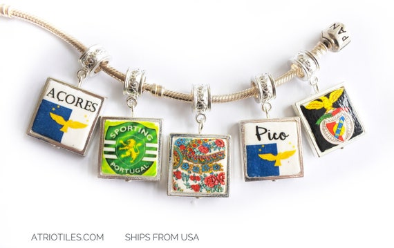"Charm Bracelet Acores Azores Benfica Sporting Viana Pico SILVER Plated Pendant for EUROPEAN ""PAN.."" Brand Bracelet - Choose One - Gift Box"