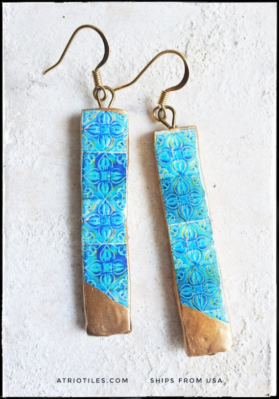 Earrings Tile Atrio Matchstick Portugal Turquoise Azulejos Gold Leaf Dipped Antique Caldas Minimal Surgical Steel Gift Box Free USA Shipping