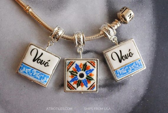 Charm Vovó Grandmother Portuguese Tile Antique Azulejo SiLVER Plated Pendant   - Gift Box Included - Ships from USA