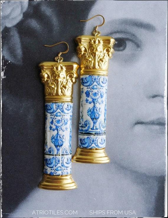 Earrings Portugal Tile COLUMN Azulejos BAROQuE - Quinta da Bacalhôa Azeitão  Cherubs Tile Mural Blue Gift Box Included - Ships from USA BOLD