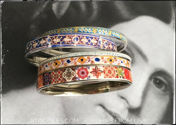 Bangles Bracelets STAINLESS STEEL Set Portugal Tile Border Azulejo Bohemian Gypsy -  Set of 5 -  Size 8 - Ships from USA