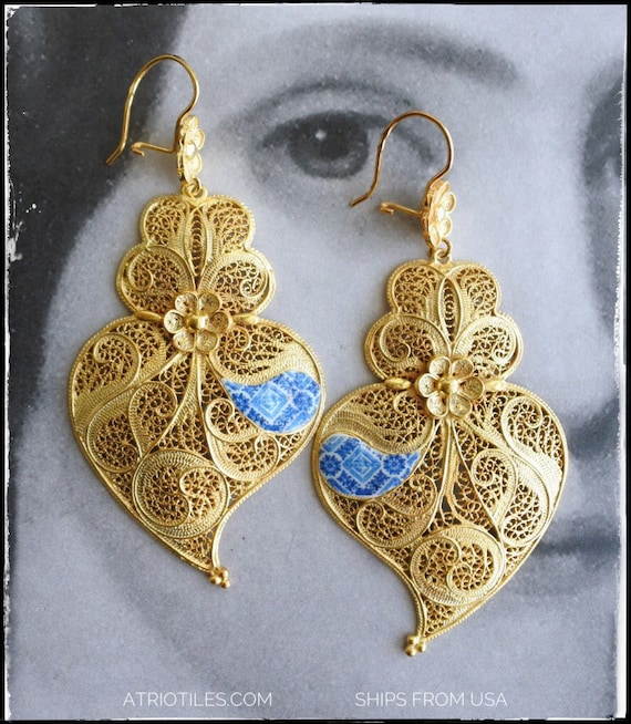 "Filigree Earrings Huge 3"" Gold Bath, 24k Portuguese Portugal Heart of Minho Viana - Blue Azulejo Tiles - Ovar - Ships from USA"