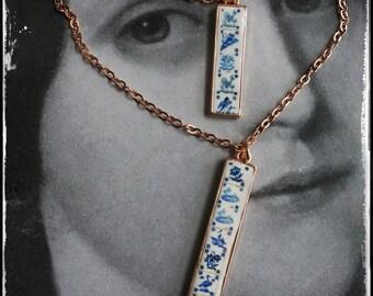 Necklace Portugal Tile Azulejo Atrio Antique Azulejo - Delft Blue 1837  Pasteis de Belem  Lisbon 2 Strands Rose Gold