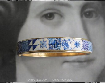 BRACEleT Bangle BLUE TILE Portugal Azulejo Antique Delft Pulseira Portuguese Gift for Her - Ships from USA - Gift Box included Atrio