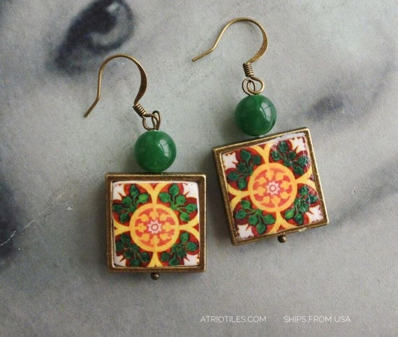 Earrings Portugal Tile Azulejo Antique Green Portuguese Talavera Ovar and Braga - Gift Box Included Ships from USA 281