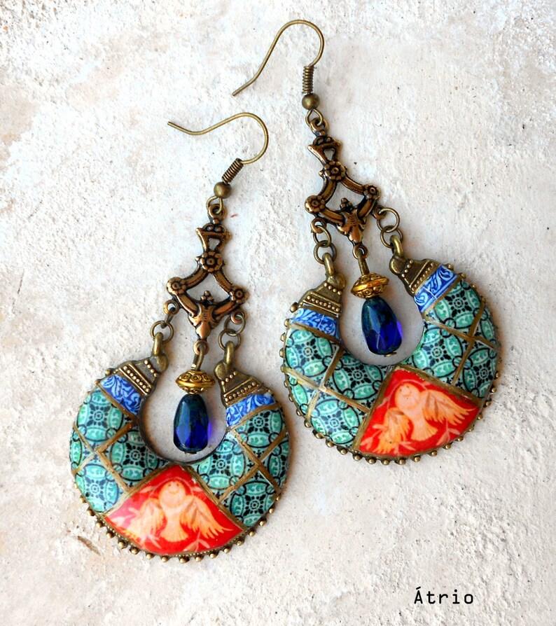 Earrings Chandelier Portugal Antique Azulejo Tile Portuguese image 0