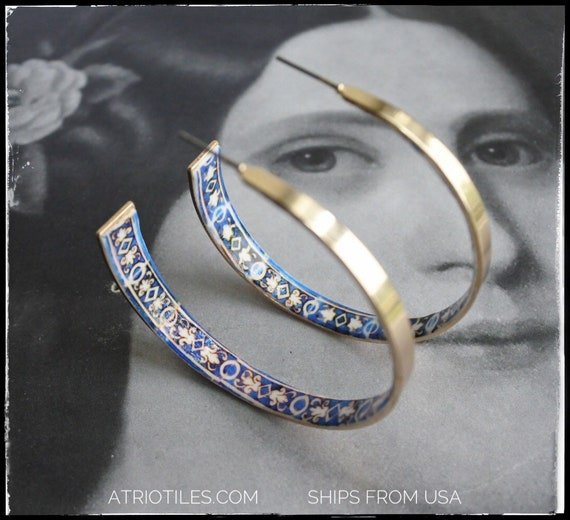 "Hoop Earrings ATRIO Tile Portugal Antique Azulejo -  2 1/4""  The Palace of the Marquesses of Fronteira gold tone"