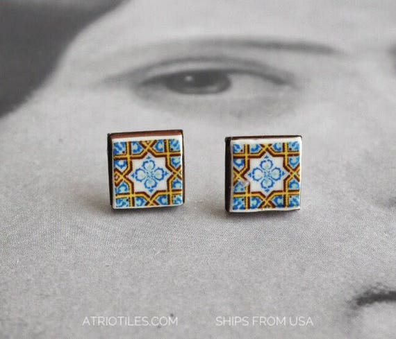 Stud Earrings Portugal Tile Post Woman Antique Azulejo  Geometric Stainless Steel Hypo allergenic - Gift Boxed - Ships from USA 318