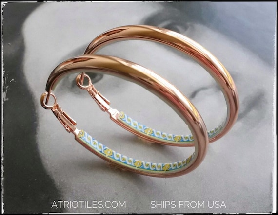 "Hoop Earrings Portugal Tile Stainless Steel Atrio Antique Azulejo 17th century Lisbon 2"" Rose Gold Gift Box Included  USA Shipping"