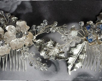 Bridal Hair Vine Atrio Boho Wedding COMBS Something Blue Delft Crown Portugal Bride Casamento Portuguese Tiles Azulejos Hair Jewelry