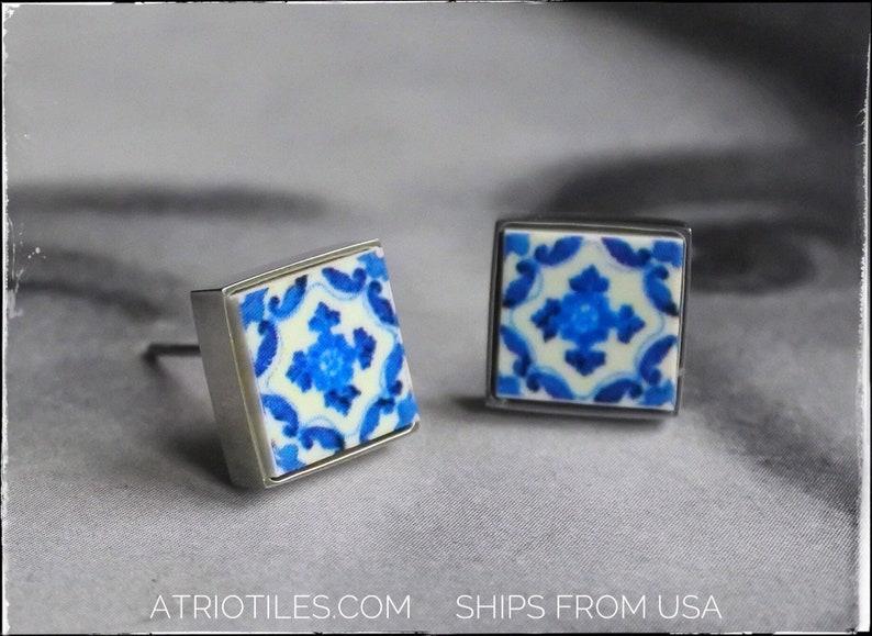 Stud Post Earrings Portugal Atrio Small Blue Tile Antique image 1