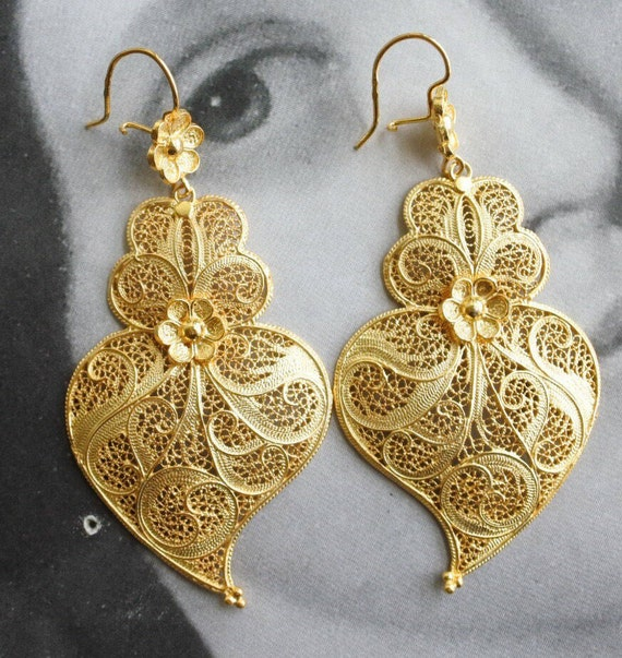 "Filigree Earrings Huge 3"" Gold Bath, 24k Portuguese Portugal Heart os Minho Viana - Made in Portugal Ships from USA"