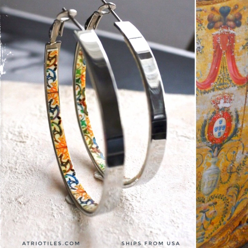 5cm Gift Box Included Ships from USA HOOP Earrings ATRIO Portugal Tile Antique Azulejo Pinterest CoIMBRA 1590-2