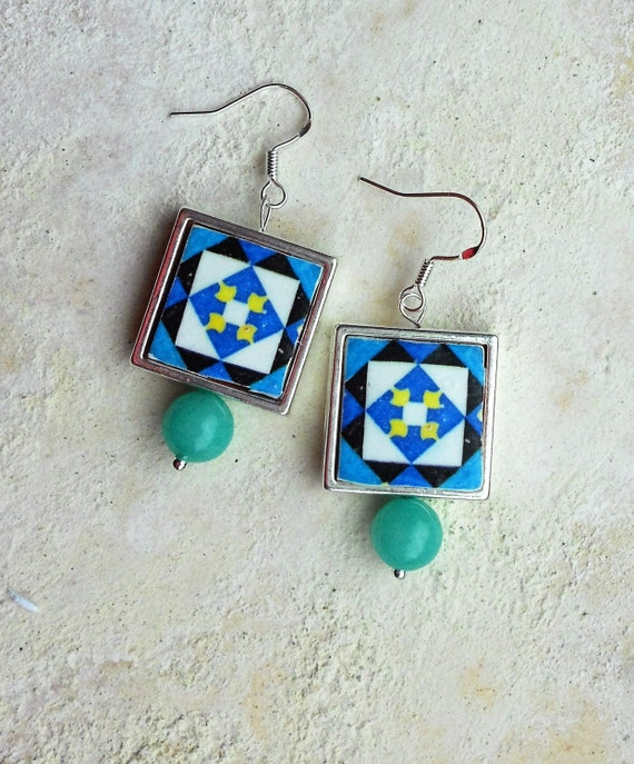 Portugal  Antique Azulejo SILVER FRAMED Tile Earrings from Cartaxo- BoLD CoLORS  (see facade photo) 417 SF
