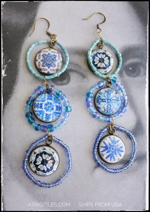 Beaded Earrings Blue Tile Cluster Waterfall Portugal Blue Antique Azulejo Tile - - Gift Box Included