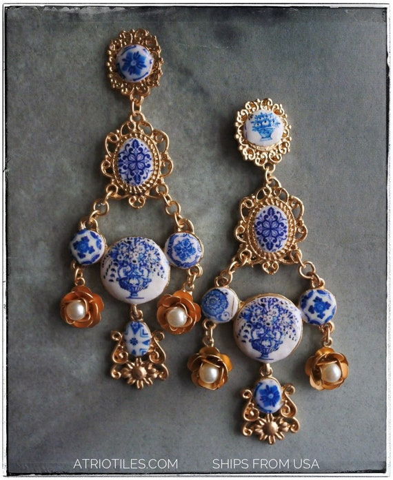 Earrings Tile Portugal Antique Azulejo Chandelier  - Featured in VOGUE - Gift Boxed Baroque