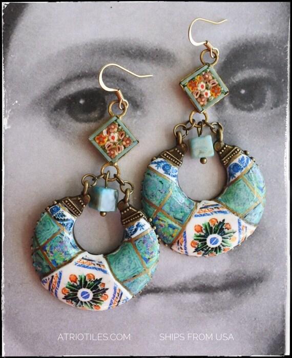 Earrings Chandelier Talavera de la Reina 1565  SPANISH Italian Monserrate Sintra Palace with Vintage Micro Mosaic OOAK