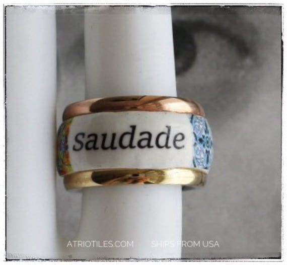 Ring Portugal SAUDADE Tile Antique Azulejo STAINLESS STEEL  Size 5 Two Toned