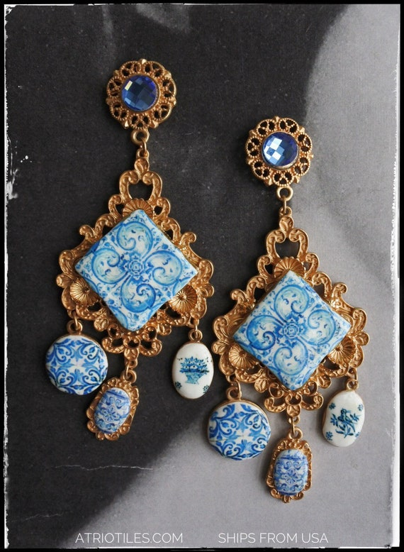 Atrio Earrings Majolica Portugal Tile Azulejo Baroque   - Tomar Convent of Christ -  Posts Featured on cover of DIVINITY magazine March 2018