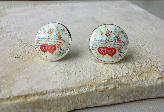 Stud Earrings Portugal SWEETHEART HANDKERCHIEF or Lenco dos Namorados SILVER PoST  in Gift Box