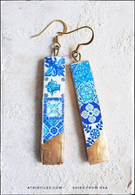 Earrings Portugal Tile Atrio Matchstick Blue Azulejos dipped in Gold leaf  Blue Tiles Surgical Steel Free USA Shipping