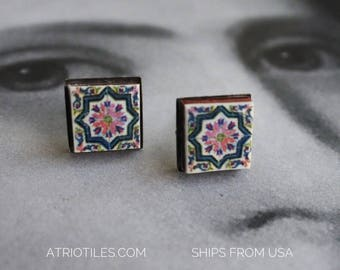 STUD Earrings Portugal Tile Azulejo Tile Stainless Steel Posts Hypo allergenic OVAR, pink and blue Ourivesaria Carvalho  Gift Boxed  651