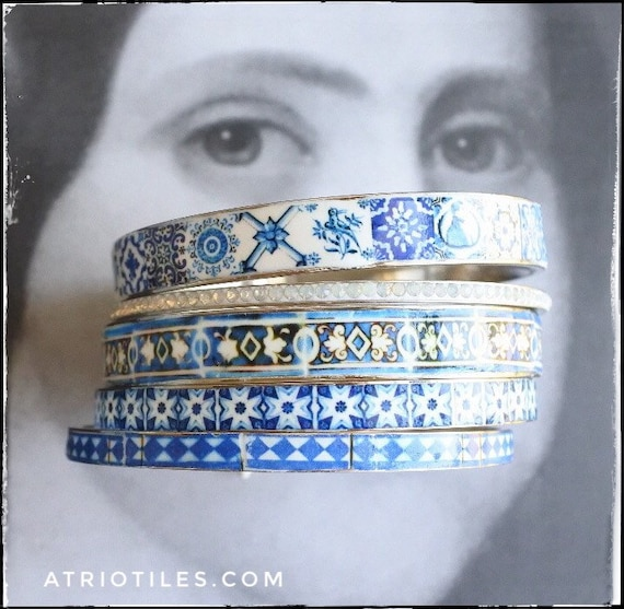 Bangles Bracelets STAINLESS STeEL Set Portugal Tile Border Blue Azulejo -  Set of 5 - Valentines Day Size 8 - FREE  USA Shipping