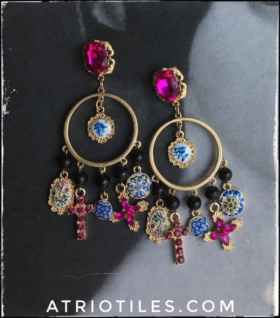 Earrings Portugal Antique Azulejo Tile Chandelier Earrings Baroque Majolica Bohemian Indian Designer Runway Cross Fuchsia Free USA Shipping
