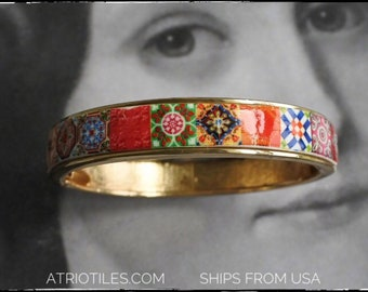 BRACEleT Bangle Pink Red Atrio Portugal  Tile Antique Azulejo Tile Gift for Her - Ships from USA - Gift Box included