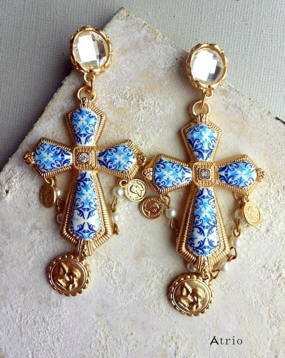 Portugal Antique Azulejo Tile Replica Blue CROSS Earrings - Church of Mercy PoRTO 1590 Majolica Baroque - Featured in GRAZIA Indonesia