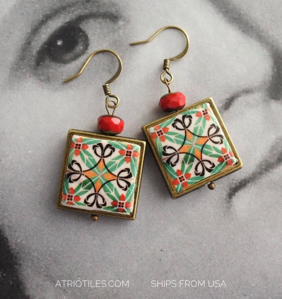 Earrings Tile Portugal Azulejo Portuguese Czech Glass beads   Ilhavo and Aveiro Persian - Reversible. Ships from USA Gift Box included 397